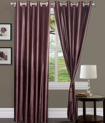 Fogg Polyester Lavender Solid Tab Top Door Curtain