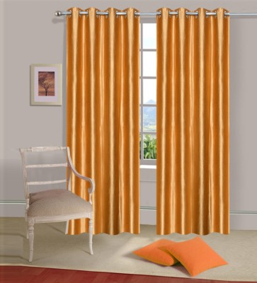 Home Elite Polyester Orange Plain Eyelet Door Curtain