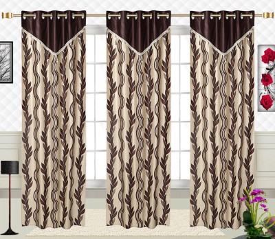 Comfort Zone Polyester Golden And Brown Leaf Abstract Eyelet Long Door Curtain