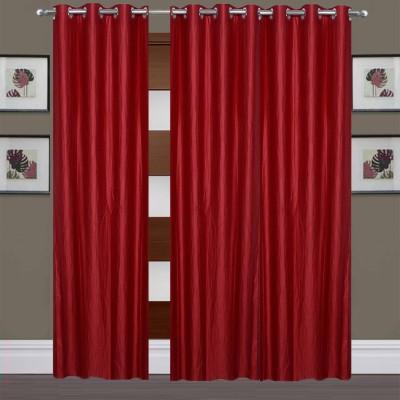 Thiwas Polyester Maroon Plain Eyelet Long Door Curtain