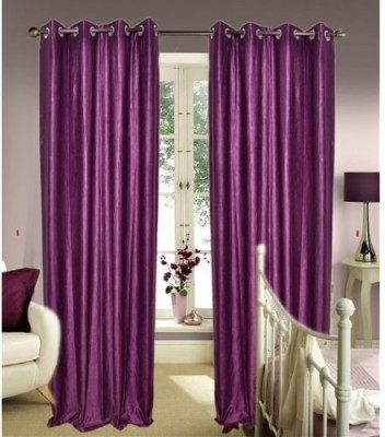 Home And Craft Polyester Lavender Floral Eyelet Door Curtain