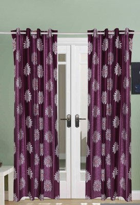 The Handloom Store Polyester Purple Floral Eyelet Long Door Curtain