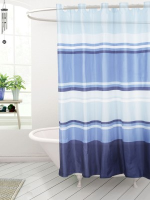 Skap Polyester Yellow Striped Ring Rod Shower Curtain