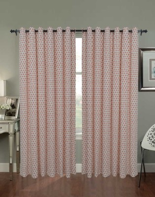 Home Boutique Cotton White, Orange Printed Eyelet Long Door Curtain
