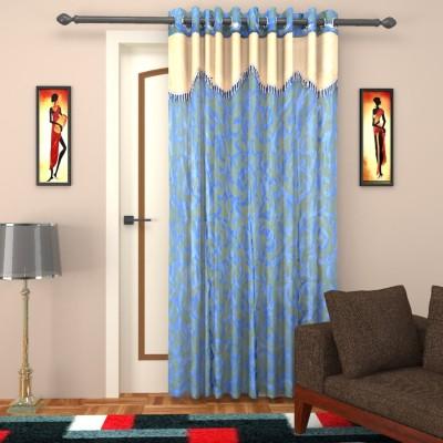 Elegance Handlooms CD9 Polyester Dark Blue, Sandal Floral Concealed Tab Top Door Curtain