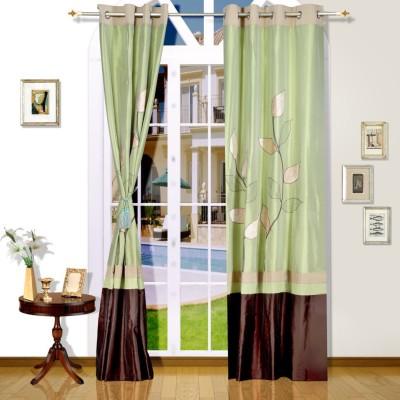 Eyda Polyester Green Abstract Eyelet Long Door Curtain
