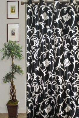 JBG Home Store Polyester Black Floral Eyelet Door Curtain
