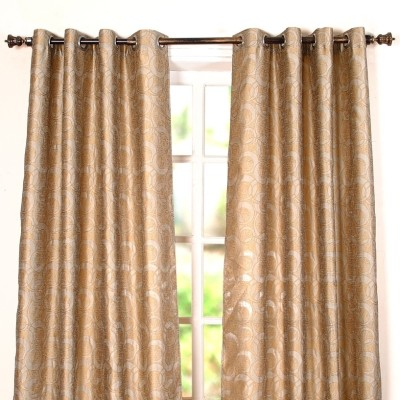 Deco Window Polyester Grey Striped Eyelet Window Curtain