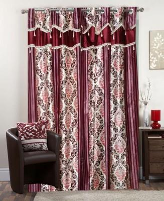 I-LivSmart Polyester Maroon Printed Curtain Door Curtain