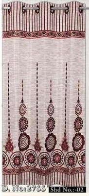 DRAPEZ Polyester Cream & Maroon Floral Eyelet Door Curtain