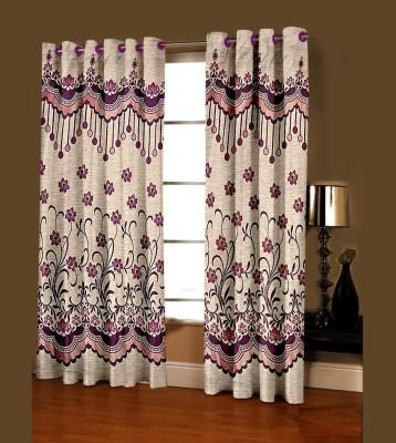 Shree Plus Polycotton Purple Floral Rod pocket Door Curtain
