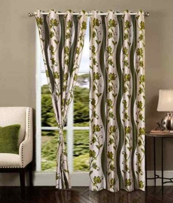 PHF Polyester Green Floral Eyelet Long Door Curtain