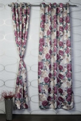 Bloom Polyester Multicolor Solid Eyelet Door Curtain