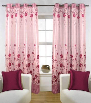 Enaakshi Polyester Fawn Pink, Maroon Floral Eyelet Door Curtain