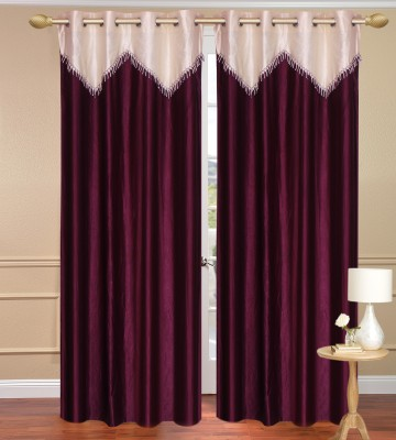 Daddyhomes Polyester Purple Solid Curtain Door Curtain