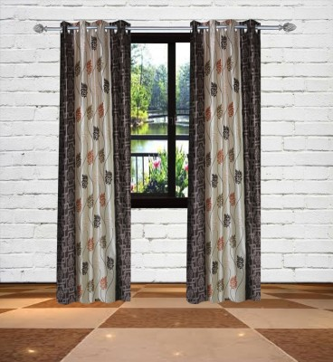 Gaurav Curtains Polyester Brown Floral Eyelet Window Curtain