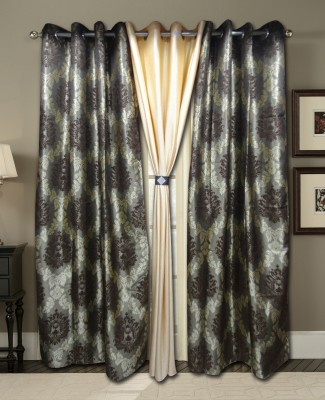 Zigma Collections Polyester Multicolor Embroidered Eyelet Door Curtain