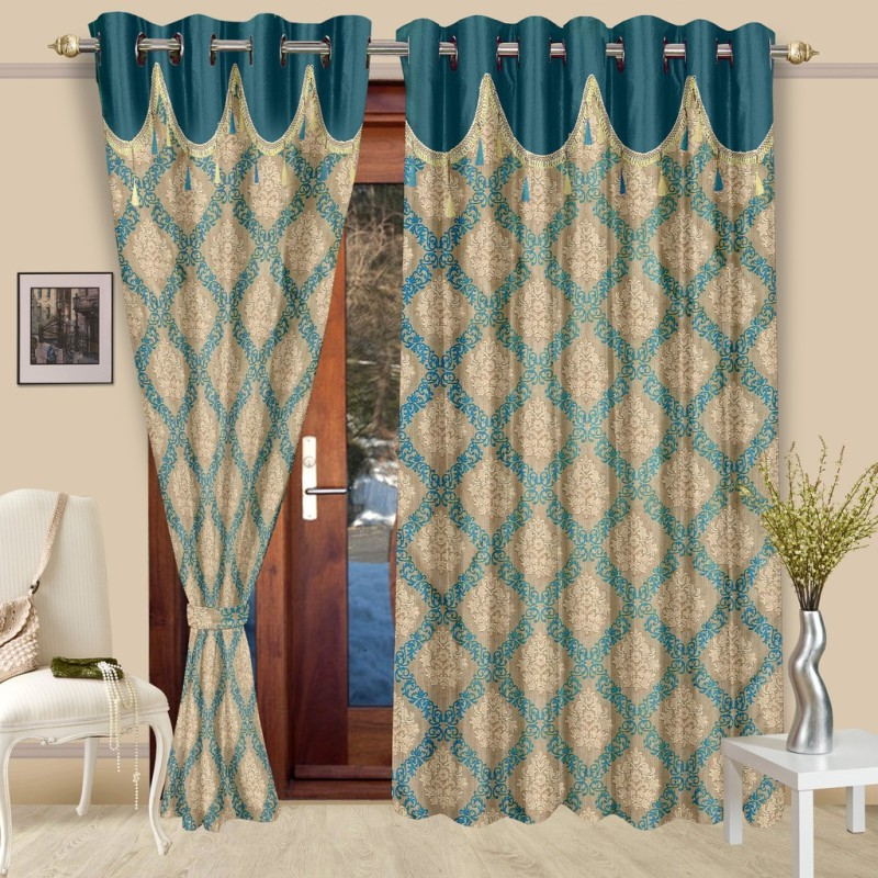Cortina Polyester Blue Floral Eyelet Door Curtain(210 cm in Height,...