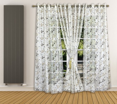 Ariana Tissue Brown Floral Curtain Door Curtain