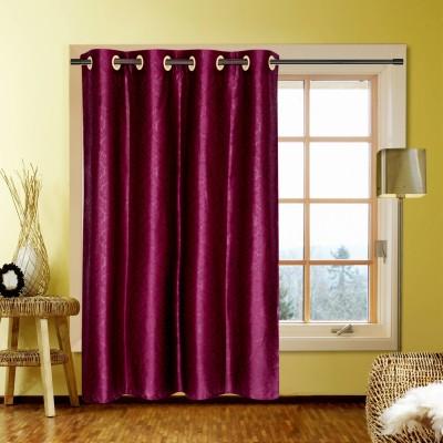 Handloom Factory Polycotton Purple Floral Eyelet Window Curtain