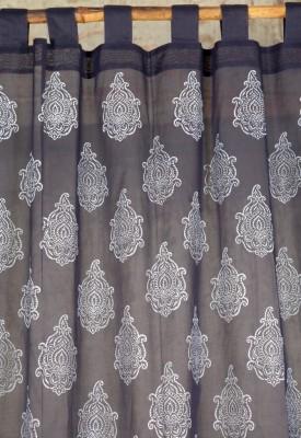 Ocean Homestore Cotton Blue Floral Curtain Door Curtain