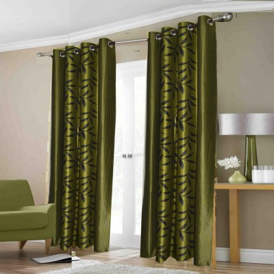 Fabbig Polyester Green Floral Eyelet Door Curtain