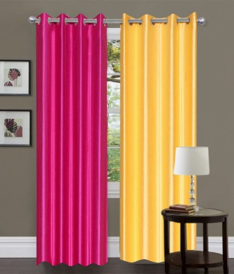 JTInternational Polyester Multicolor Self Design Eyelet Door Curtain