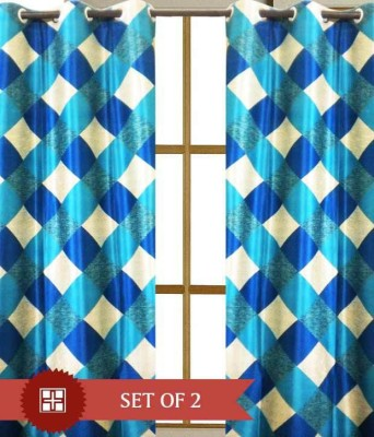 Home And Craft Polyester Blue Printed Eyelet Door Curtain