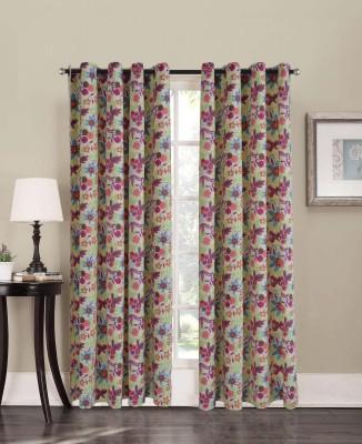 Home Boutique Cotton Multicolor Floral Eyelet Long Door Curtain