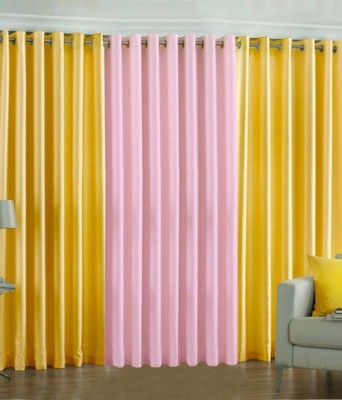 The Decor Hub Polyester Yellow, Baby Pink Plain Eyelet Door Curtain