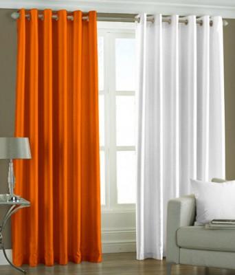 The Decor Hub Polyester Orange, White Plain Eyelet Window Curtain