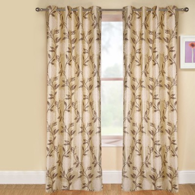 kaka furnishings Polyester Brown Floral Eyelet Long Door Curtain