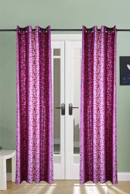 The Handloom Store Polyester Purple Floral Eyelet Door Curtain