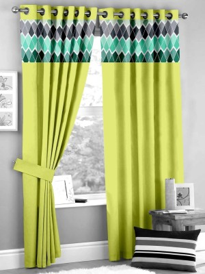 HOMEC Polyester Green Geometric Eyelet Window & Door Curtain