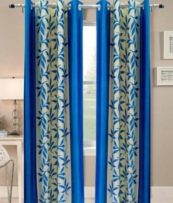 Excel Bazaar Polyester Aqua Floral Eyelet Door Curtain