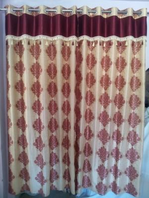mansuriwala Polyester Maroon Damask Eyelet Window & Door Curtain