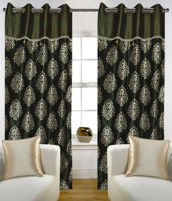 STC Polyester Green Motif Eyelet Door Curtain