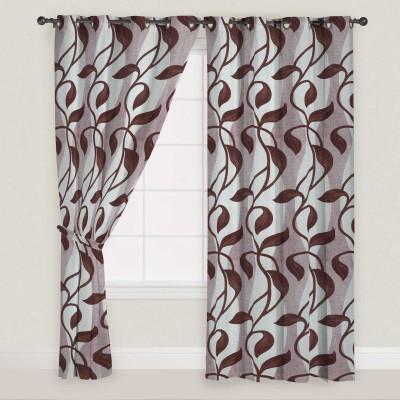 Presto Polyester Brown, Grey Self Design Eyelet Door Curtain