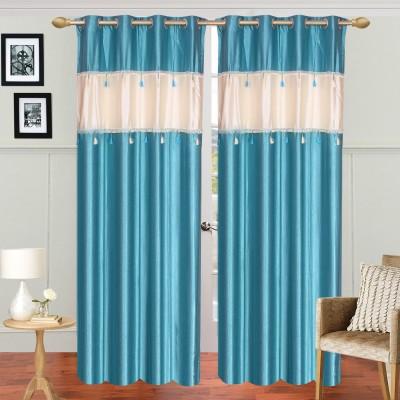 Dreamshomes Polyester Aqua Solid Rod pocket Door Curtain