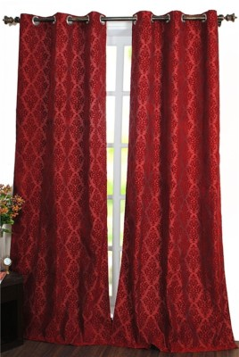 Deco Window Polyester Red Motif Eyelet Door Curtain