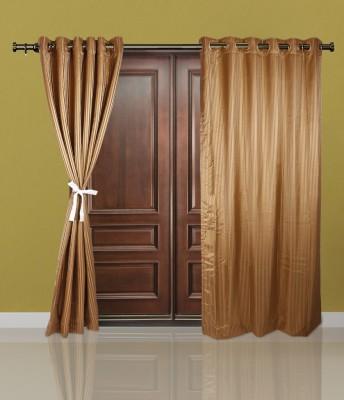 Just Linen Polyester Dark Khaki Striped Eyelet Door Curtain