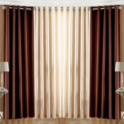 White Wave Polyester Brown, Cream Plain Eyelet Door Curtain