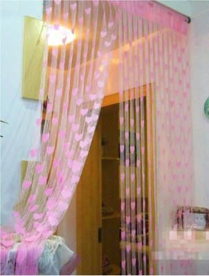 Panipat Textile Hub Polyester Pink Floral Curtain Door Curtain