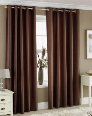 The Decor Hub Polyester Brown Plain Eyelet Door Curtain