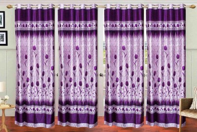 New Trends Polyester Purple Printed Eyelet Door Curtain