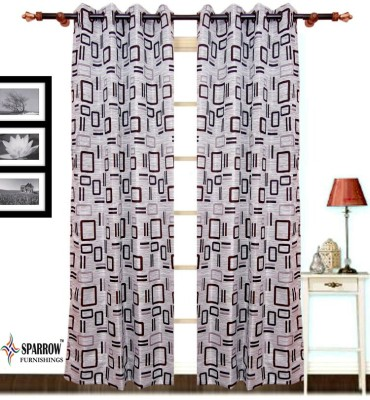 Sparrow Polyester Brown Checkered Eyelet Door Curtain