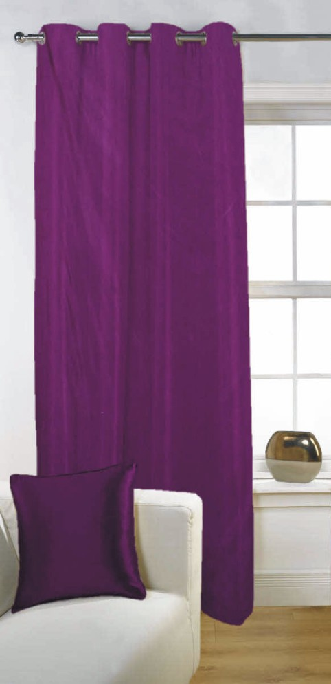 Fabutex Polyester Purple Solid Eyelet Door Curtain