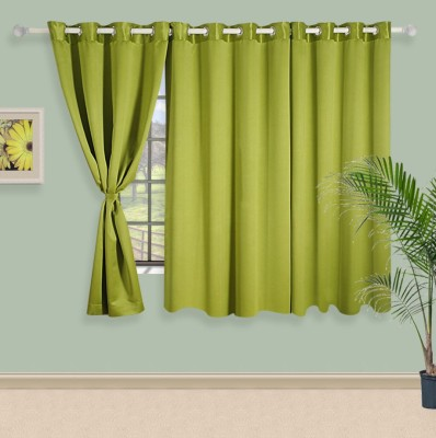 Swayam Silk Green Solid Eyelet Window Curtain