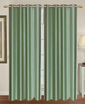 HomeTex Polycotton Green Plain Eyelet Long Door Curtain
