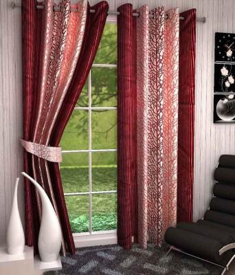 Kanha Polyester Red Floral Eyelet Door Curtain
